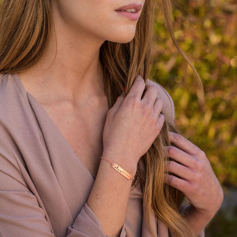 Family Bar Bracelet in 18K Rose Gold Plating - 2