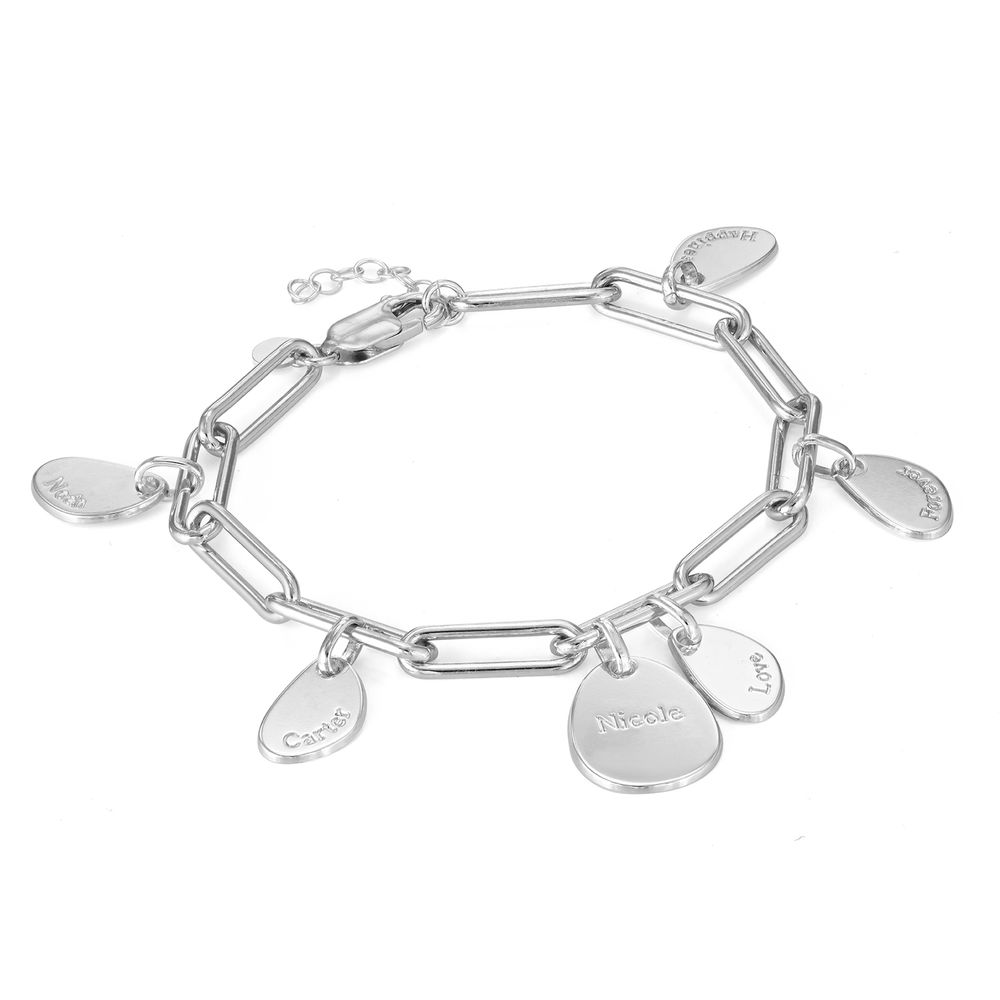Personalized Chain Link Bracelet with Engraved Charms in Sterling Silver