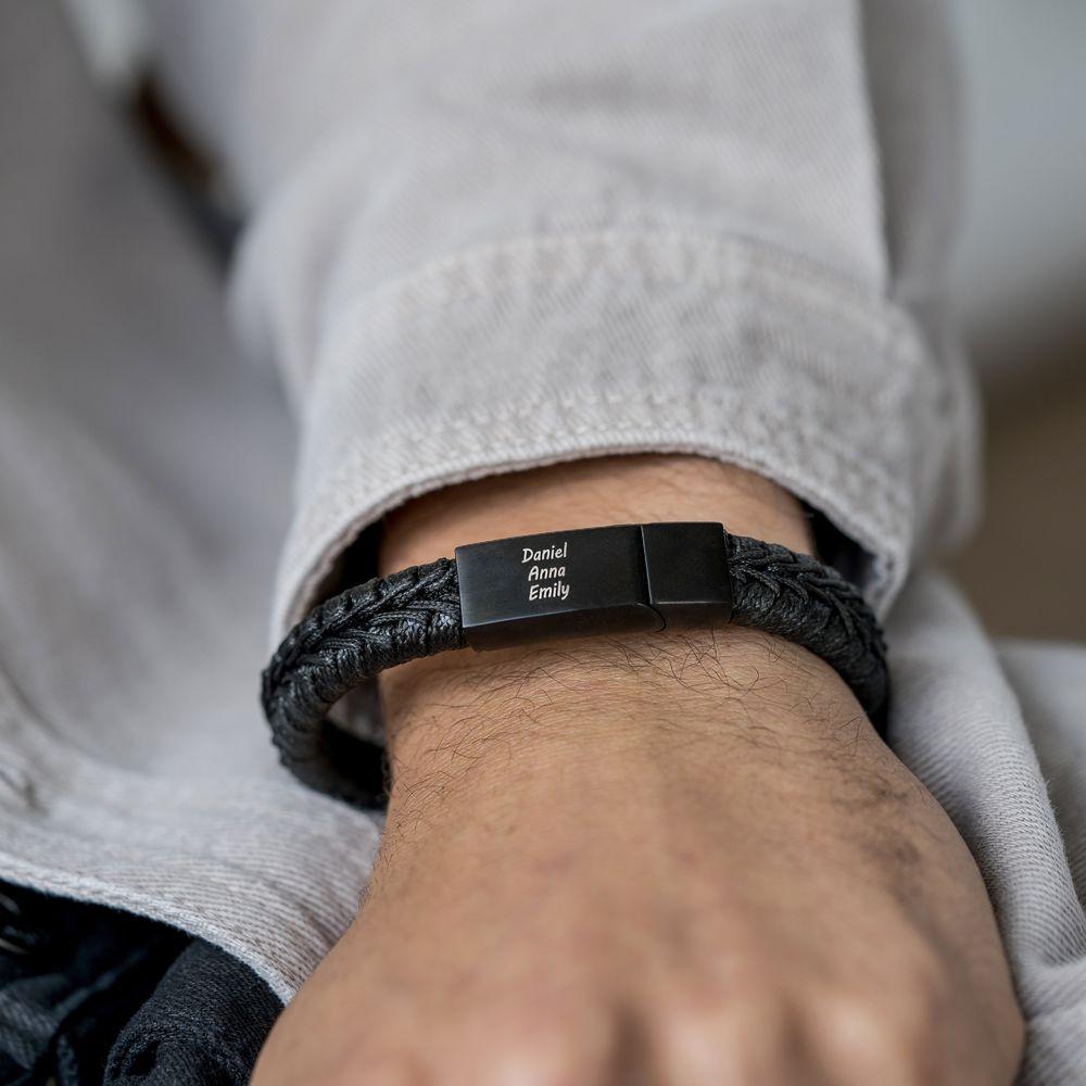 Men Flat Black Leather Braided Bracelet - 2