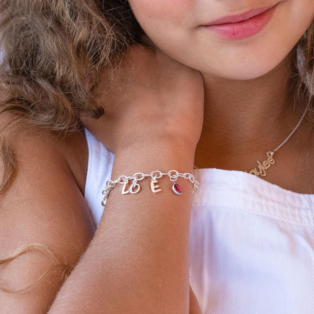 Letter Charm Bracelet for Girls in Sterling Silver - 1