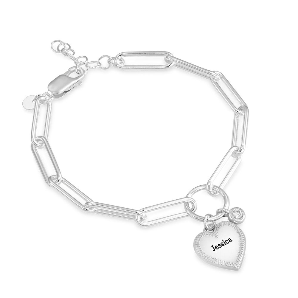 Heart Pendant Link Bracelet with Diamond in Sterling Silver