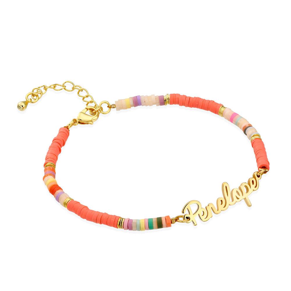 Gold Bead Name Bracelet in Gold Plating