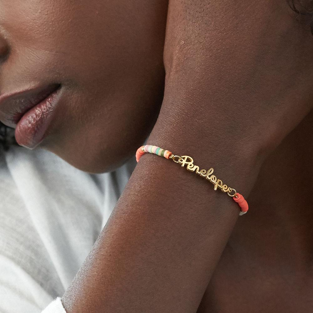 Gold Bead Name Bracelet in Gold Plating - 3