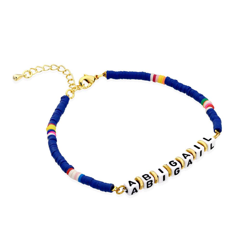 Blue Kids Custom Beaded Name Bracelet in Gold Plating