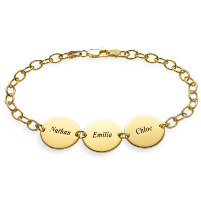 Special Gift for Mom - Disc Name Bracelet with 18K Gold Plating