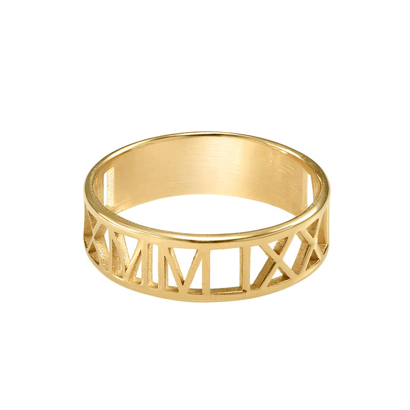 Gold Plated Roman Numeral Ring - 1