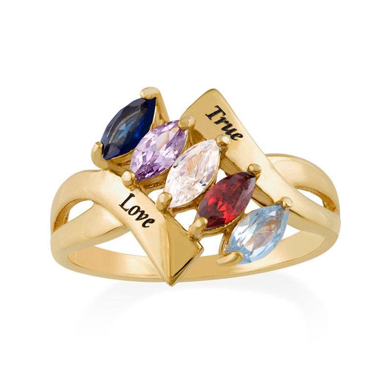 Birthstone Ring for Mom with Gold Plating - 1