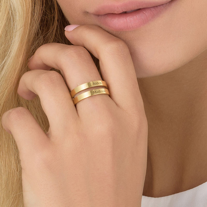 Two Name Ring with Gold Plating - 4
