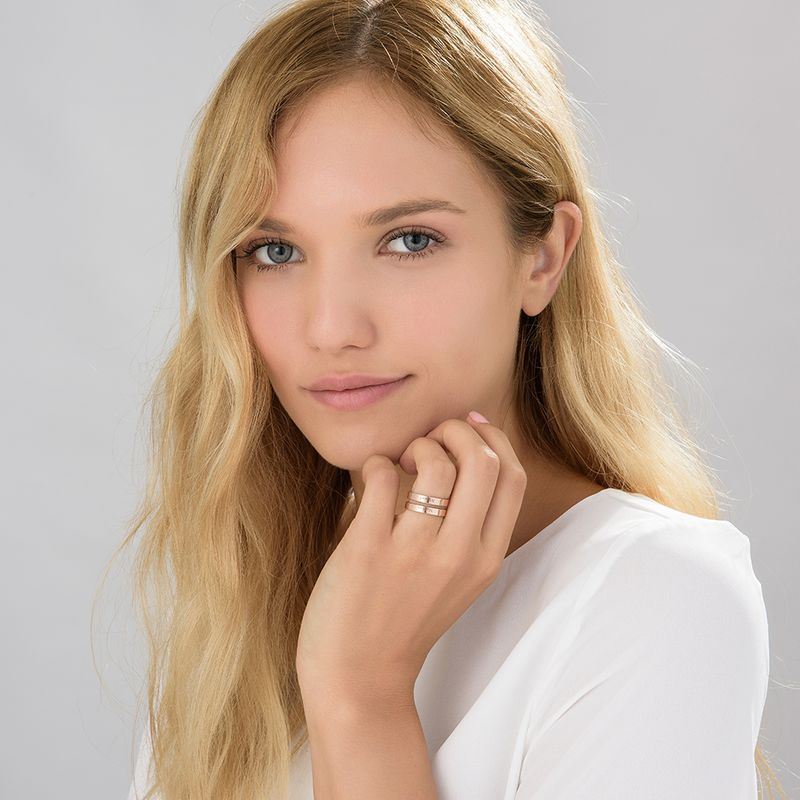 Two names ring in Rose Gold Plating - 3
