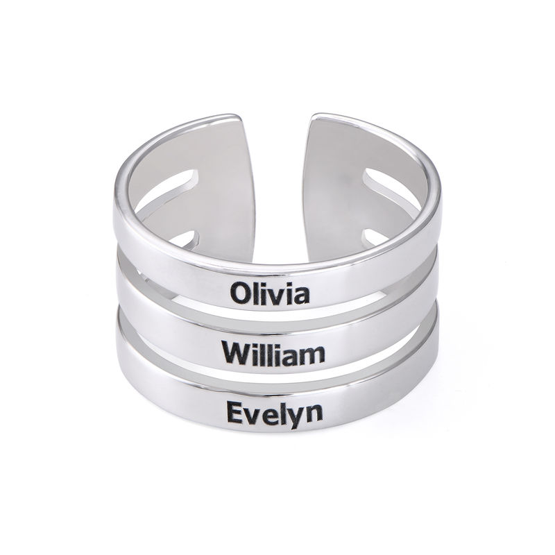 Three Name Ring in Sterling Silver - 1