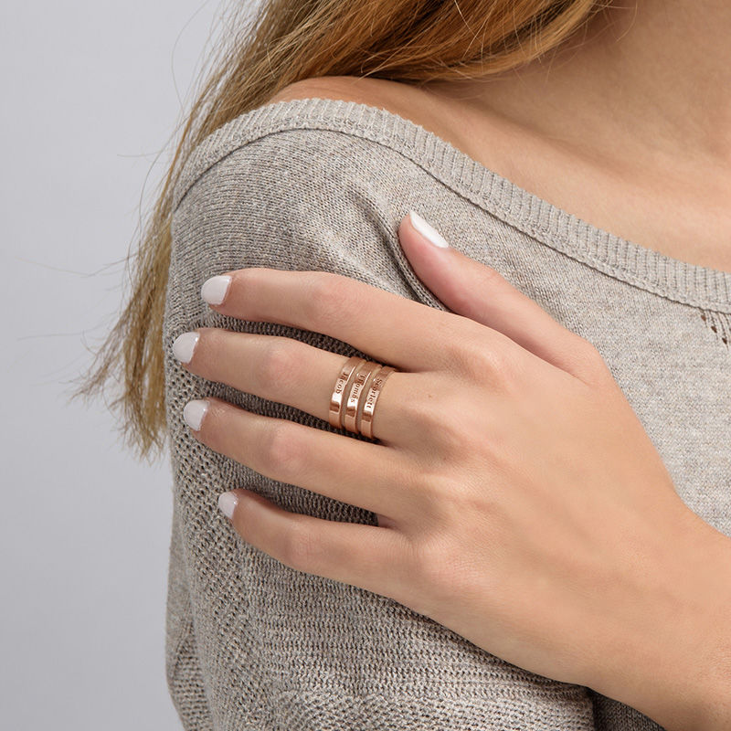 Three Names Ring in Rose Gold Plating - 3