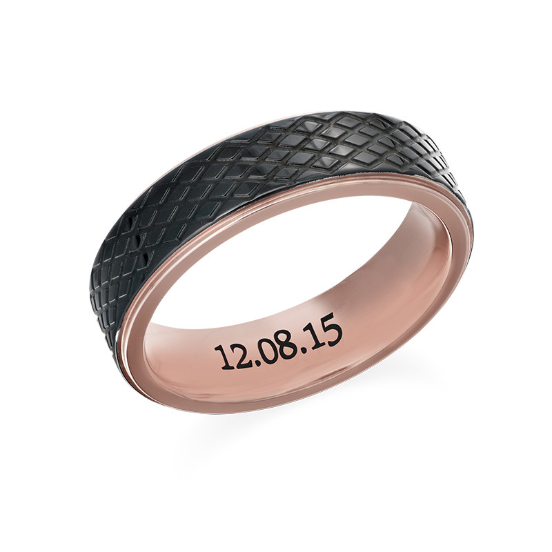 Stainless Steel Ring for Men-Black and Rose Gold Plating