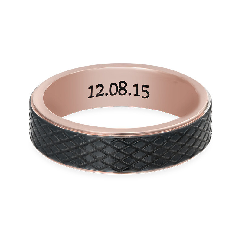 Stainless Steel Ring for Men-Black and Rose Gold Plating - 1