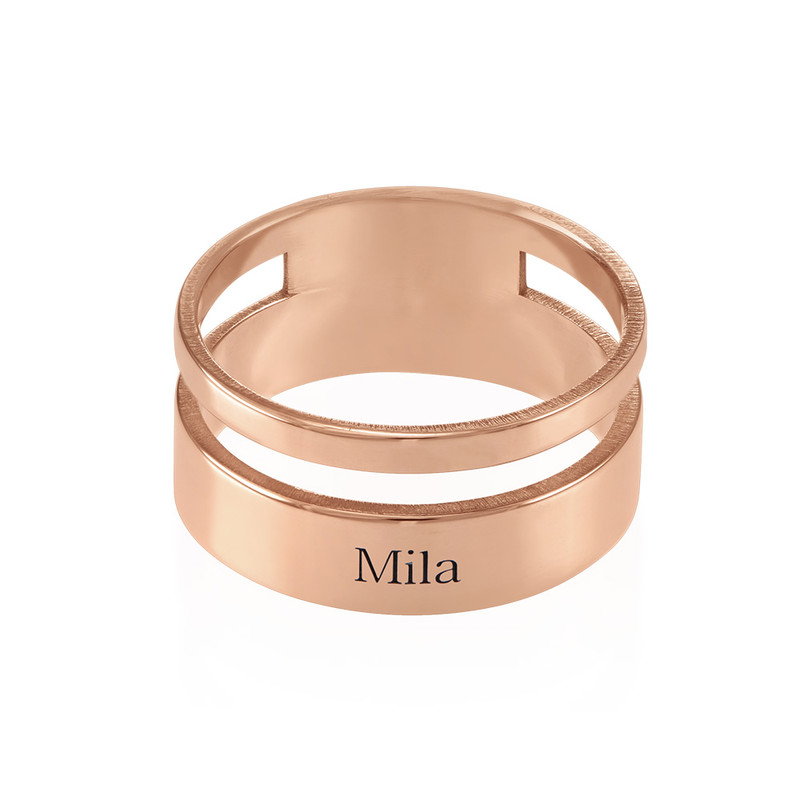 Asymmetrical Name Ring with Rose Gold Plating - 1