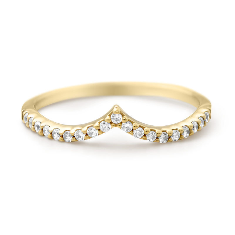 V Ring with Cubic Zirconia in Gold Plated