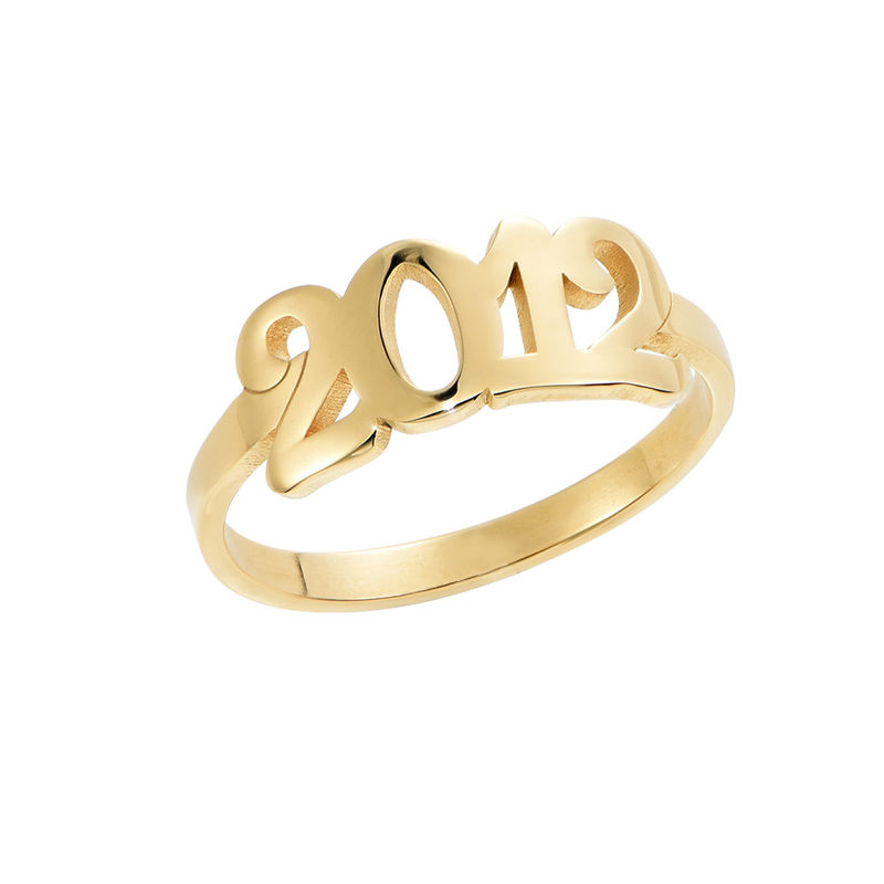 Personalized Number Ring with 18K Gold Plating