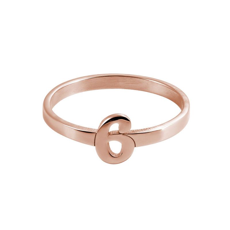 Personalized Number Ring with 18K Rose Gold Plating - 1