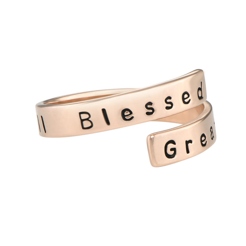 Engravable Ring Wrap in Rose Gold Plating - 2