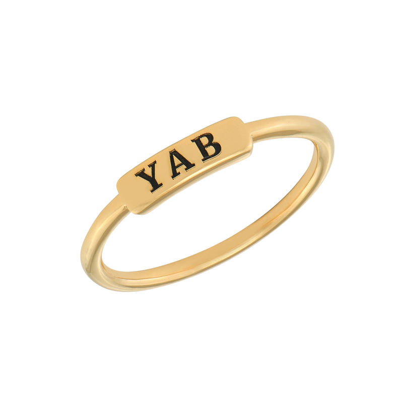 Stackable Nameplate Ring in Gold Plating