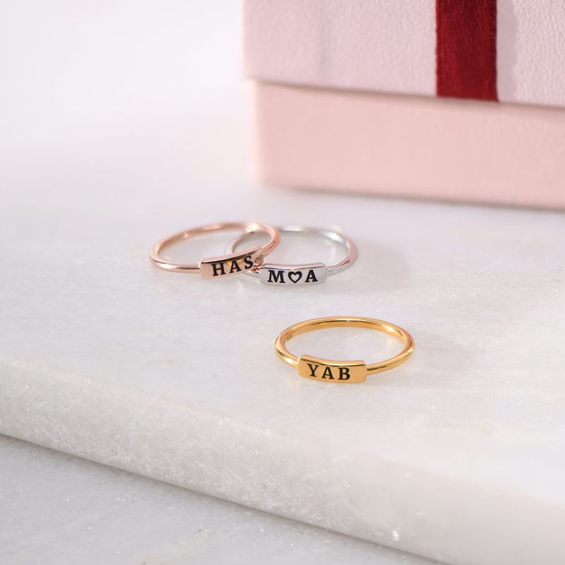Stackable Nameplate Ring in Rose Gold Plating - 2