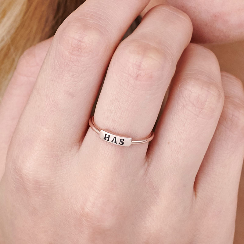 Stackable Nameplate Ring in Rose Gold Plating - 4