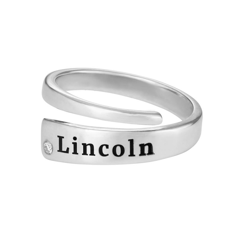 Custom Wrap Name Ring with Cubic Zirconia in Silver - 1