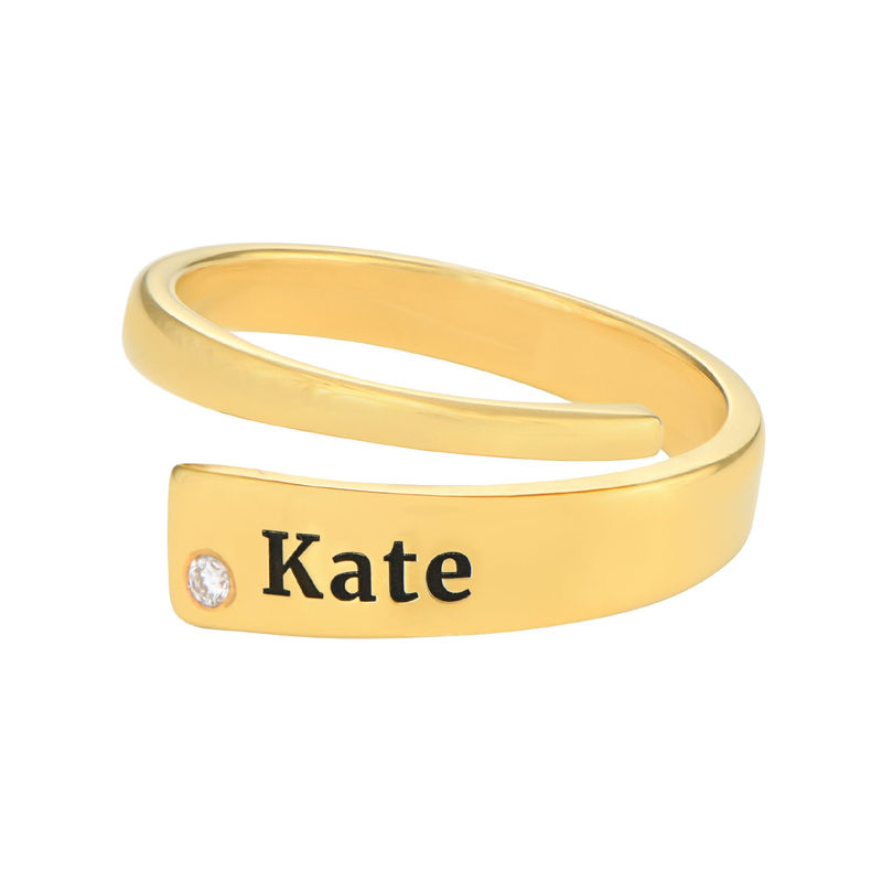 Custom Wrap Name Ring with Cubic Zirconia in Gold Plating - 1