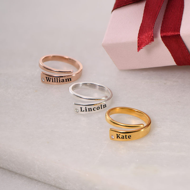 Custom Wrap Name Ring with Cubic Zirconia in Gold Plating - 2