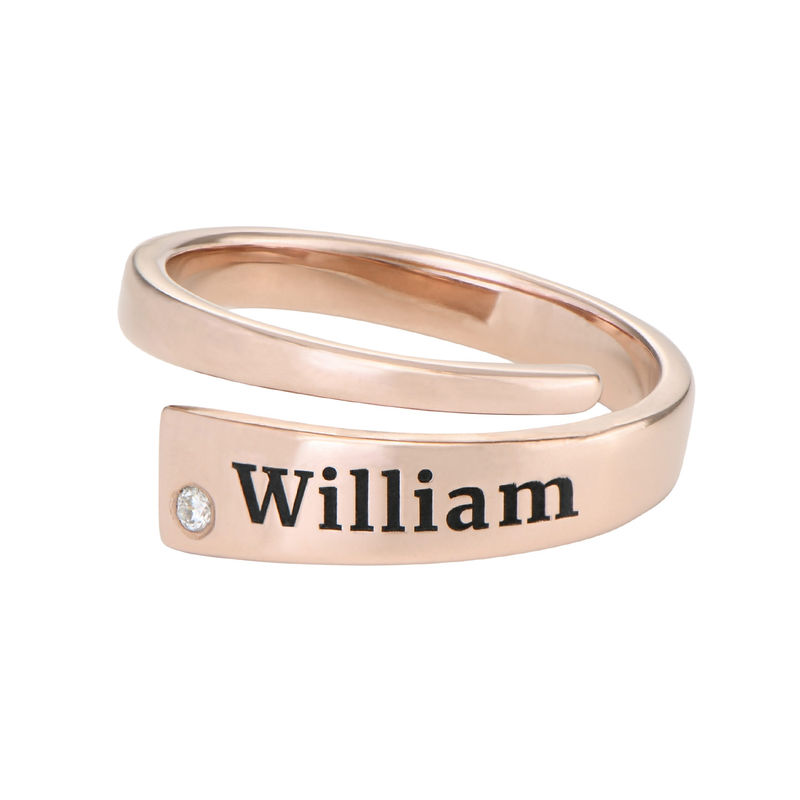 Custom Wrap Name Ring with Cubic Zirconia in Rose Gold Plating - 1