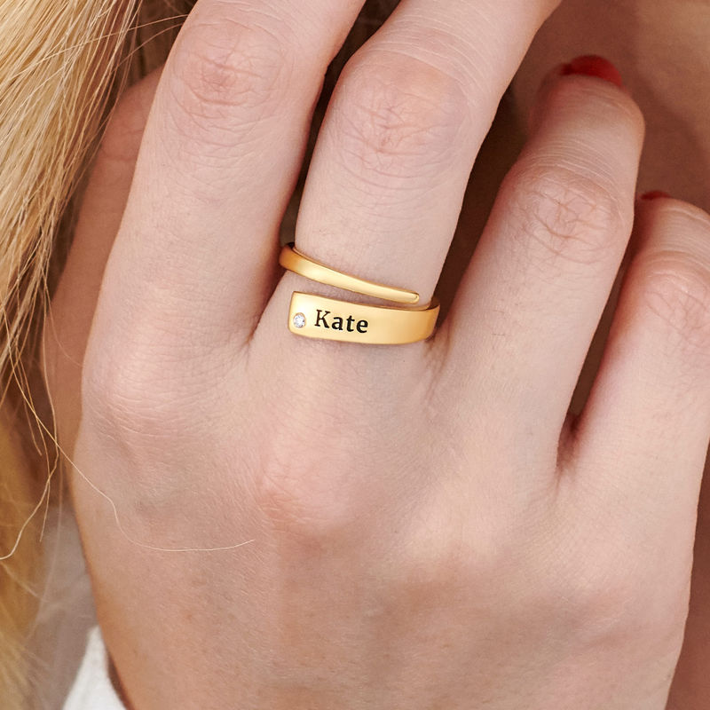 Custom Wrap Name Ring with Diamond in Gold Plating - 3