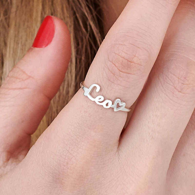 Script Name Ring in Silver - 5