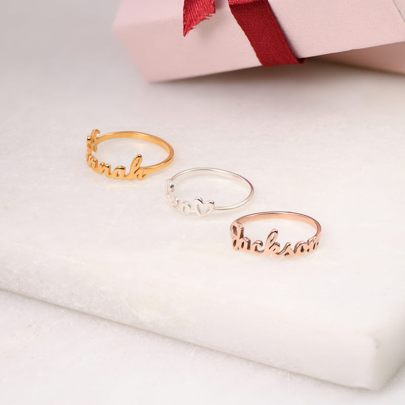 Script Name Ring in Rose Gold Plating - 2