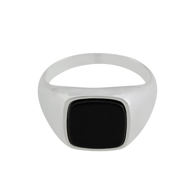 Custom Onyx Stone Signet Ring in Sterling Silver for Men - 1