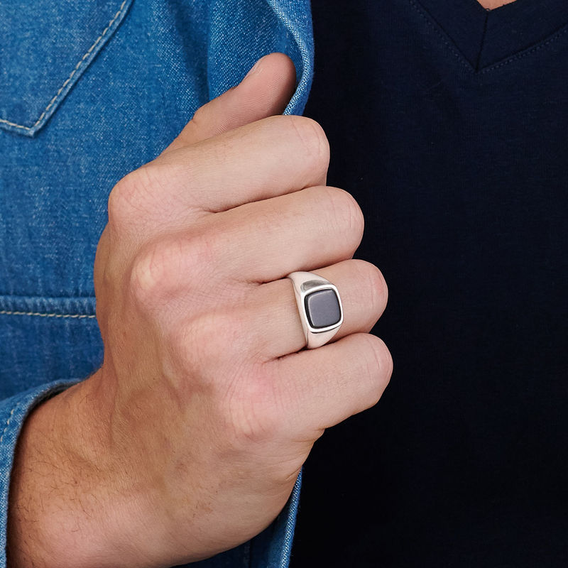 Custom Onyx Stone Signet Ring in Sterling Silver for Men - 4