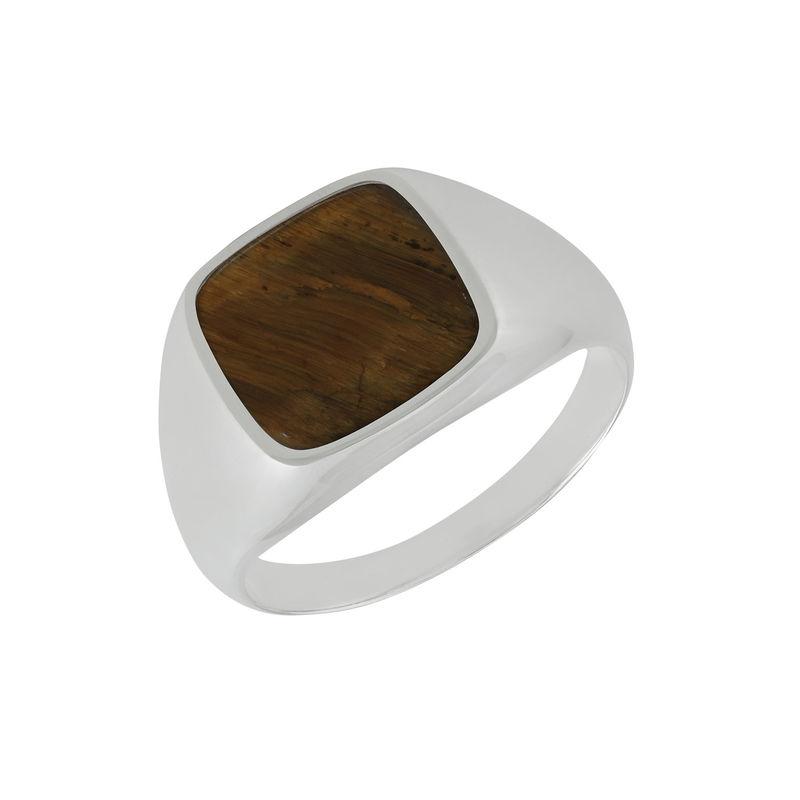 Custom Tiger Eye Signet Ring in Sterling Silver for Men