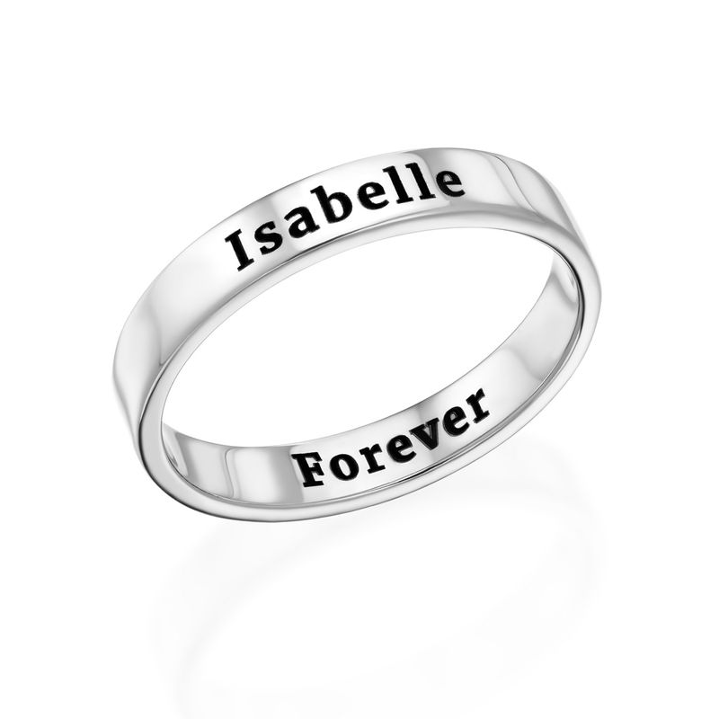 Engraved Thin Band Ring in Sterling Silver