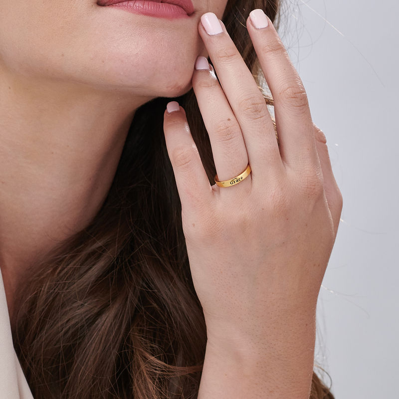 Engraved Thin Band Ring in Gold Plating - 6