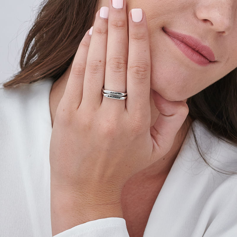 Stackable Rectangular Name Ring in Sterling Silver - 6