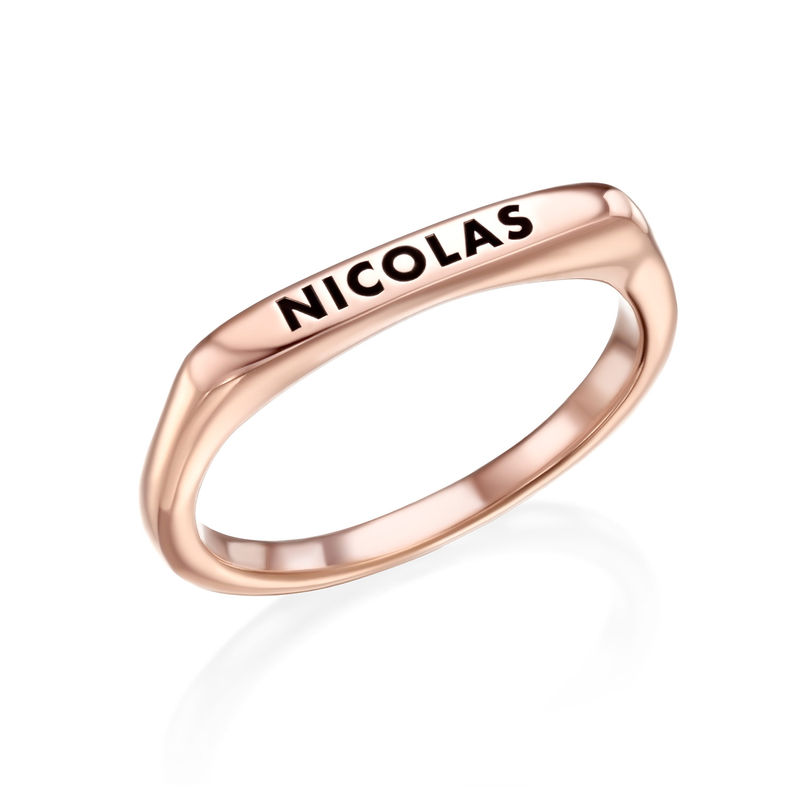 Stackable Rectangular Name Ring in Rose Gold Plating