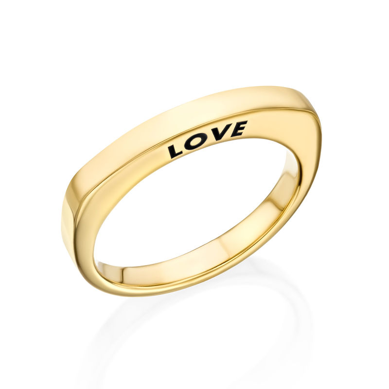 Engraved Square Ring Band in Gold Plating