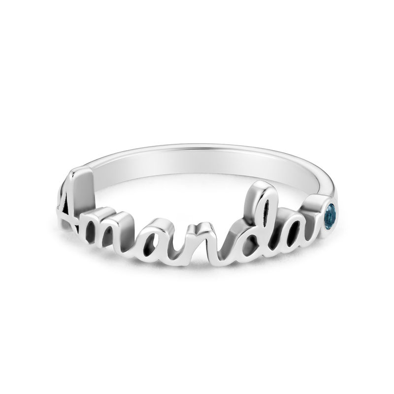 Personalized Birthstone Name Ring in Sterling Silver - 1