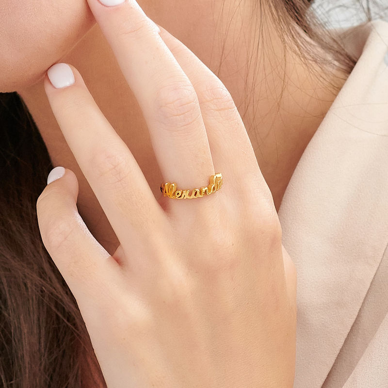 Personalized Birthstone Name Ring in Gold Plating - 3