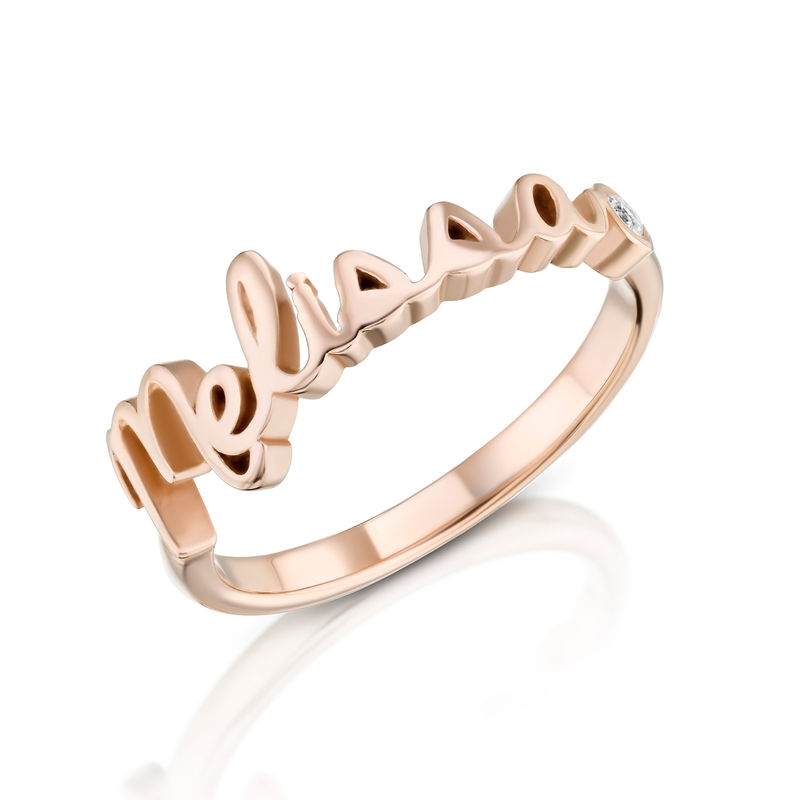 Personalized Birthstone Name Ring in Rose Gold Plating