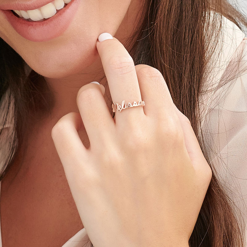 Personalized Birthstone Name Ring in Rose Gold Plating - 3