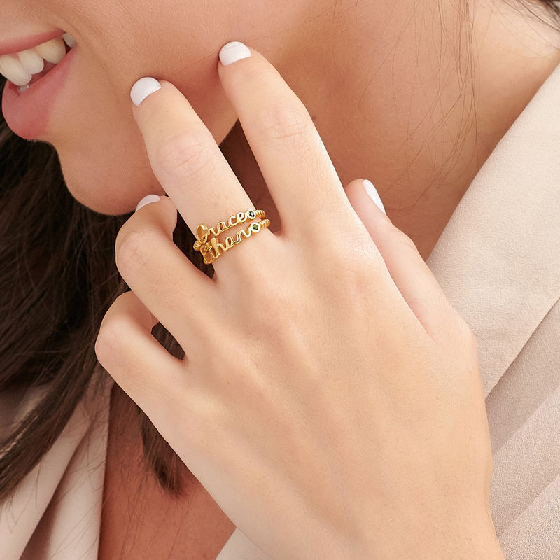 Personalized Birthstone Name Ring with Rope Band in Gold Plating - 3