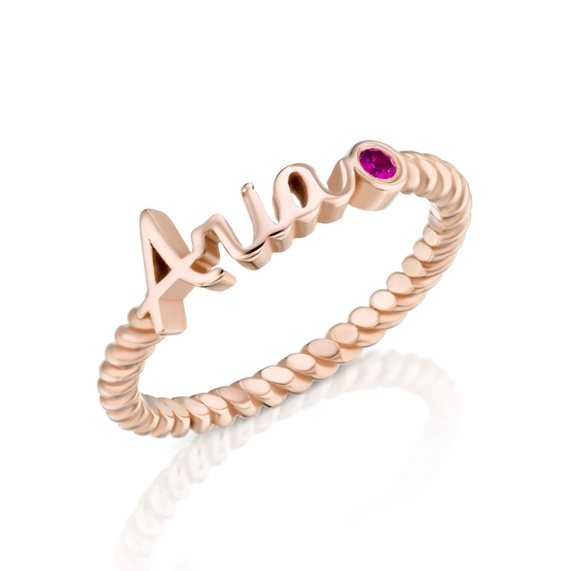 Personalized Birthstone Name Ring with Rope Band in Rose Gold Plating