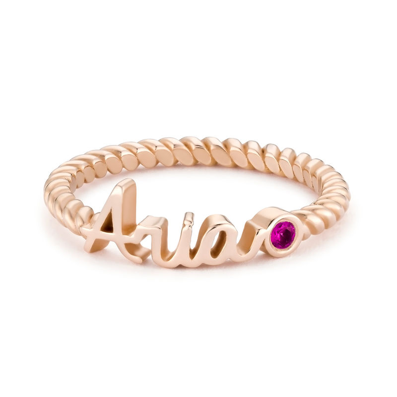 Personalized Birthstone Name Ring with Rope Band in Rose Gold Plating - 1