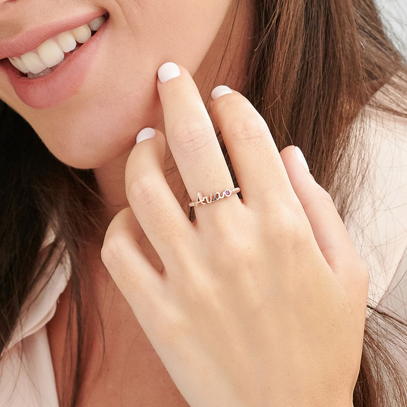 Personalized Birthstone Name Ring with Rope Band in Rose Gold Plating - 3