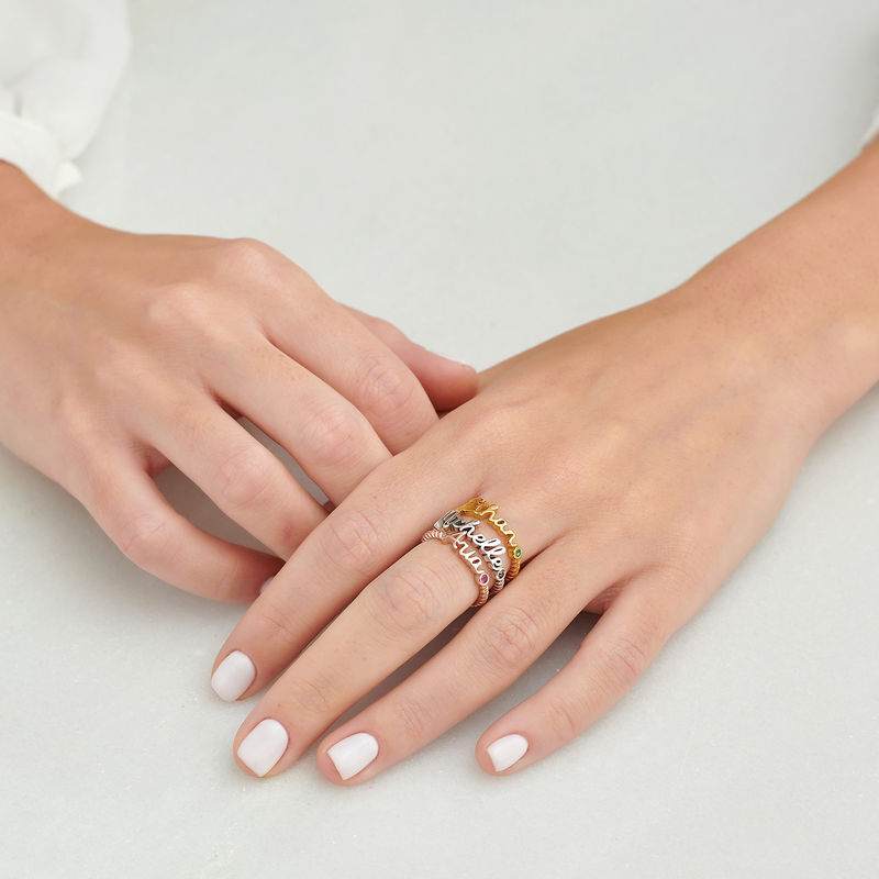 Personalized Birthstone Name Ring with Rope Band in Rose Gold Plating - 5