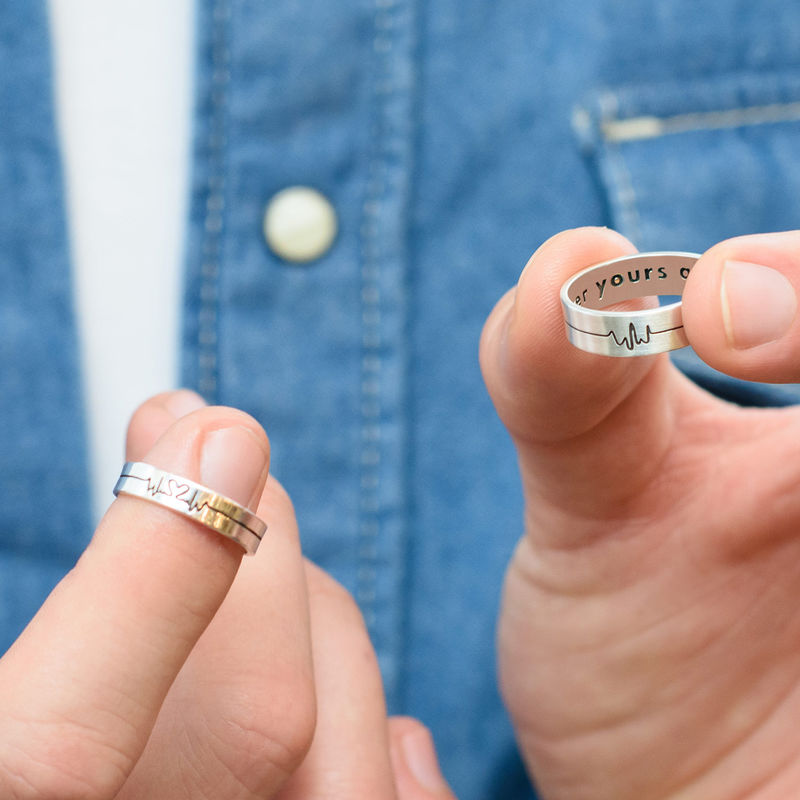Heart Beat Couple's Rings - Man Ring - 2